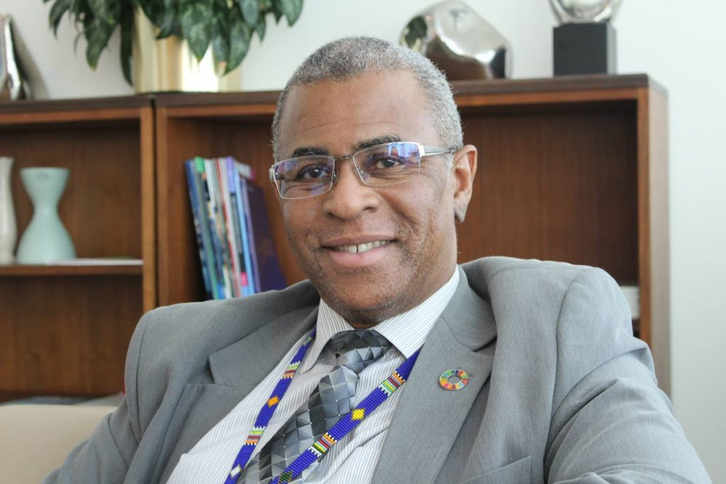 UN chief economist, Trinidadian Elliott Harris at his office in New York. Photo by Carla Bridglal