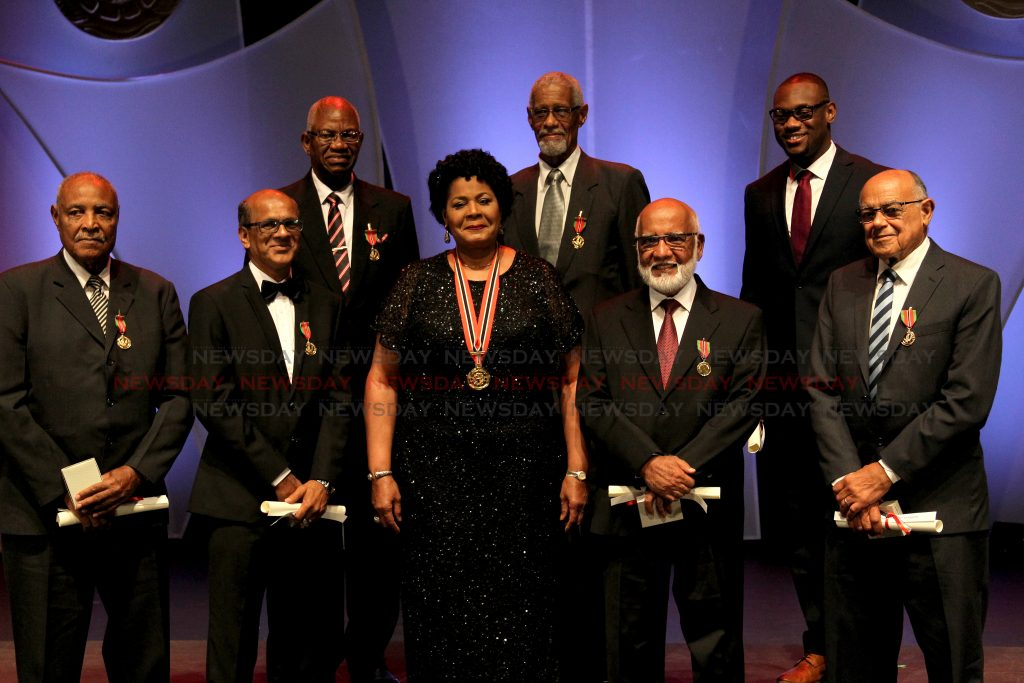 Her Excellency Paula-Mae Weekes, President, with recipients of the Public Service Medal of Merit GOLD,  The 50th annual National Awards ceremony,  Lord Kitchener Auditorium, NAPA. Port of Spain, Tuesday, September 25, 2019. PHOTO BY ROGER JACOB.