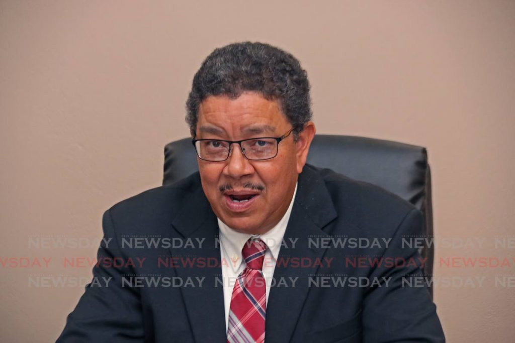 Alan Poon-King Acting CEO, WASA speaks with media at Desalcott, Point Lisas Industrial Estate.   PHOTO BY: MARVIN HAMILTON