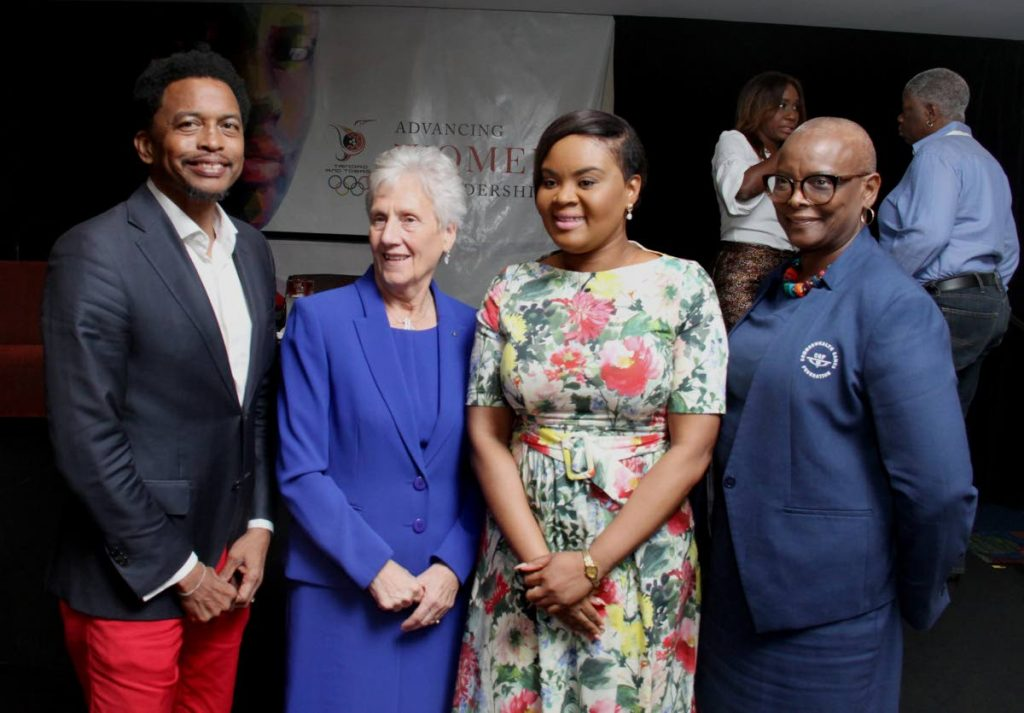 From left, president of the TT Olympic Committee and TT Commonwealth Games Association Brian Lewis, president of the Commonwealth Games Foundation Dame Louise Martin, Minister of Sport and Youth Affairs Shamfa Cudjoe and Senator and Minister for Culture and Creative Industries, St Lucia Cathelina Fortuna Belrose, at the TT Olympic Commitee and Commonwealth Games Association Advancing Women in Leadership forum, yesterday, at the Trinidad Hilton, St. Ann's.
