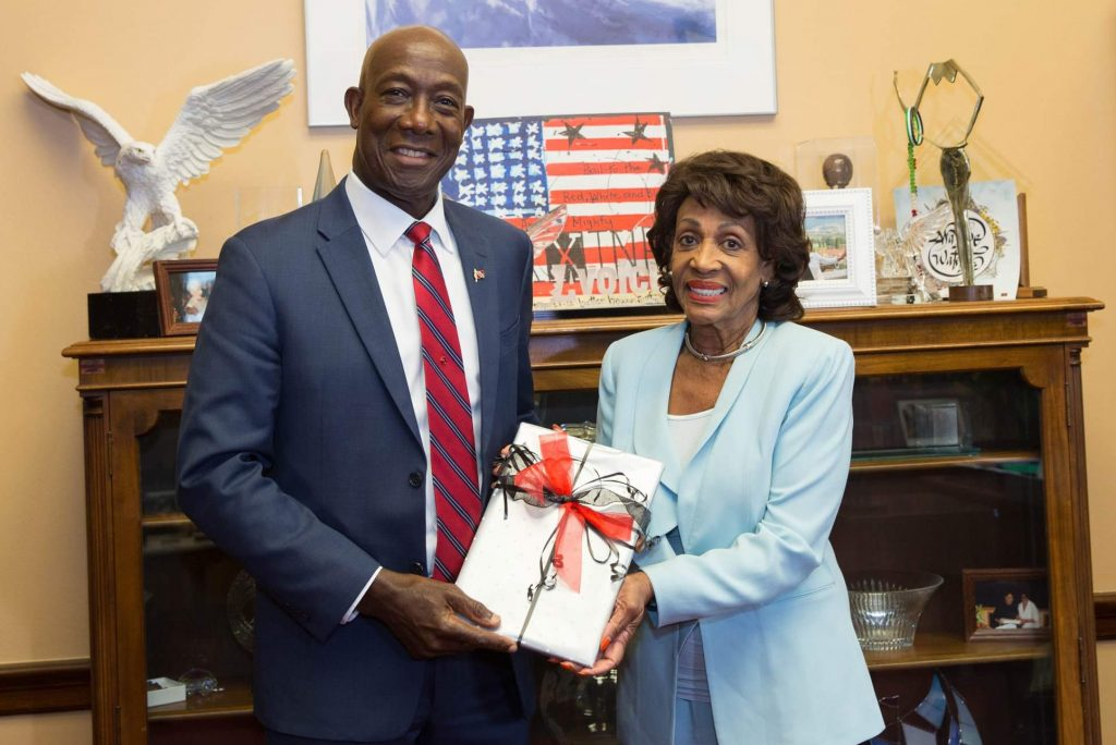File photo: Prime Minister Dr the Hon Keith Rowley with Representative Maxine Waters (D-CA), Chairwoman of the House Financial Services Committee in September 2019.