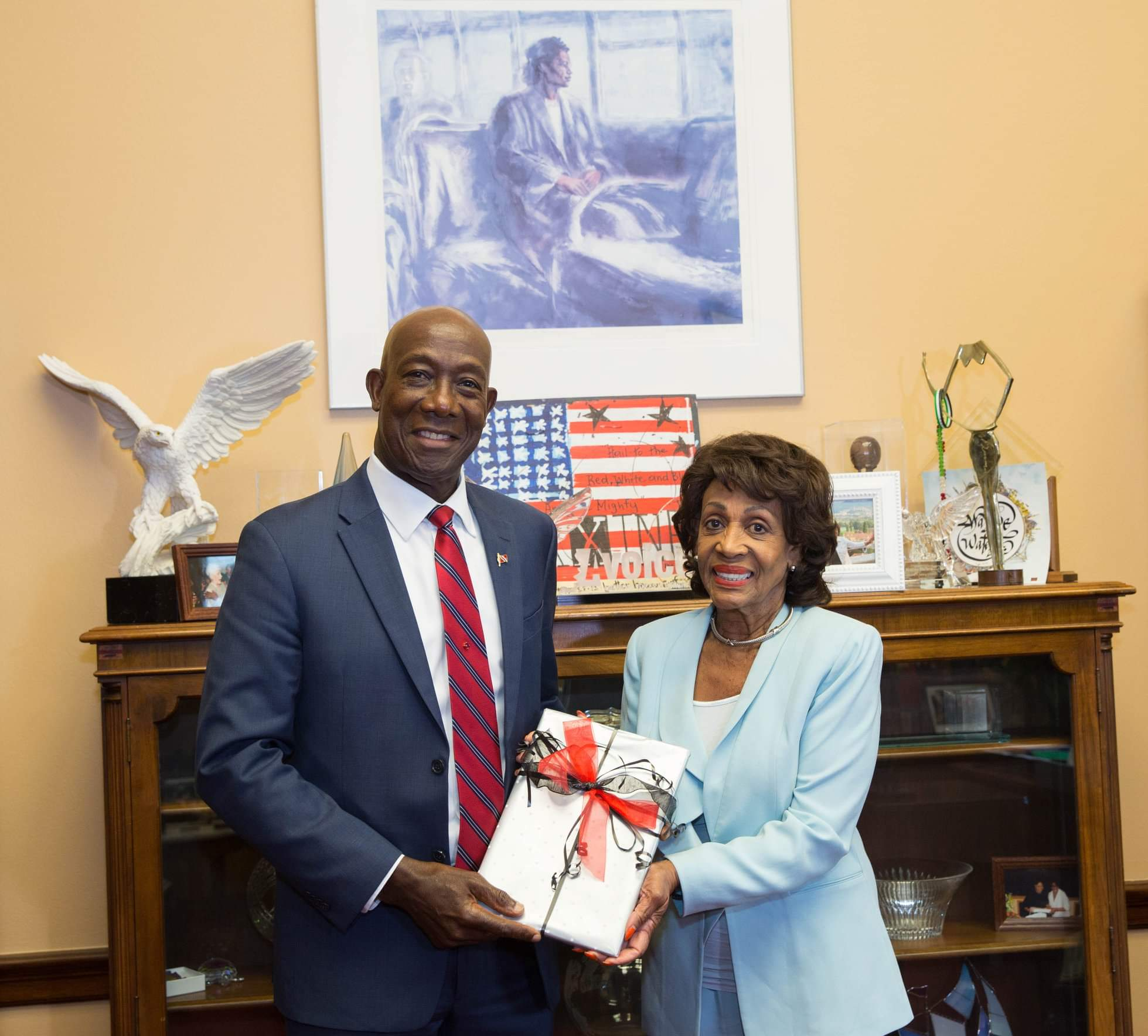 Camillle Moreno Attachments 11:03 AM (1 minute ago) to me  Prime Minister Dr the Hon Keith Rowley with Representative Maxine Waters (D-CA), Chairwoman of the House Financial Services Committee.