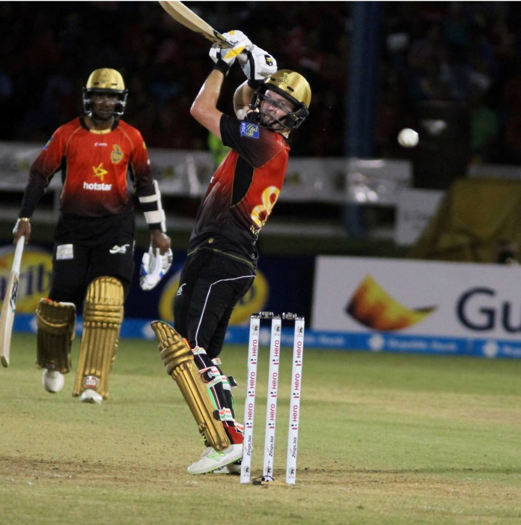 Colin Munro during the 2018 CPL. Munro slammed 96 not out to lead TKR to victory in the 2019 Hero Caribbean Premier League T20 Tournament, last night.