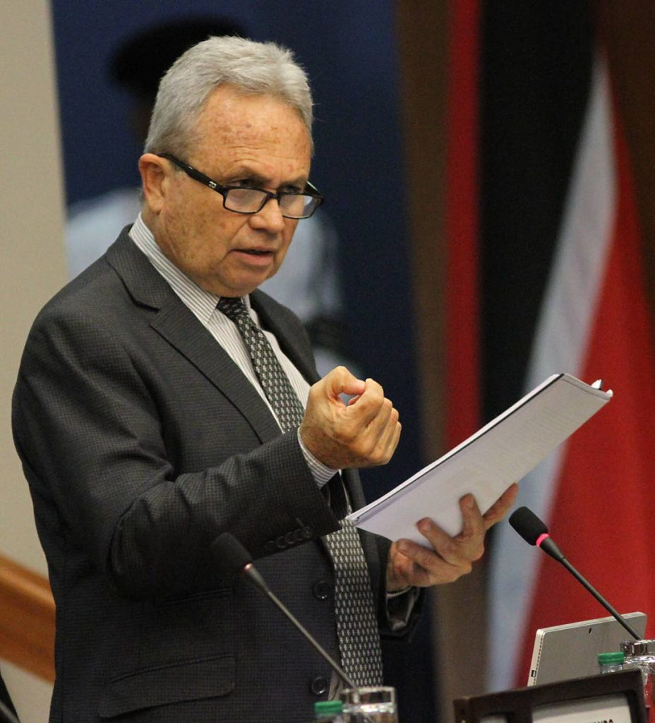 Finance Minister Colm Imbert speaks in Parliament.