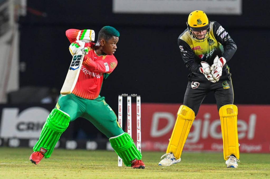 Shimron Hetmyer (left) in action for the Guyana Amazon Warriors against the Jamaica Tallawahs during the 2019 Hero CPL.  -