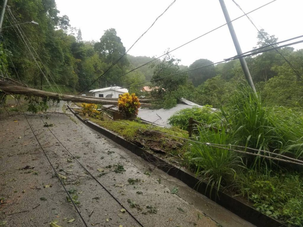 The Dunveygan Road in Whim is inaccessible due to a fallen tree and utility pole after the passage of Tropical Storm Karen on September 22. Tobago has been granted approval to borrow $110 million in urgent climate change funding from the Development Bank of Latin America.   FILE PHOTO/TEMA -