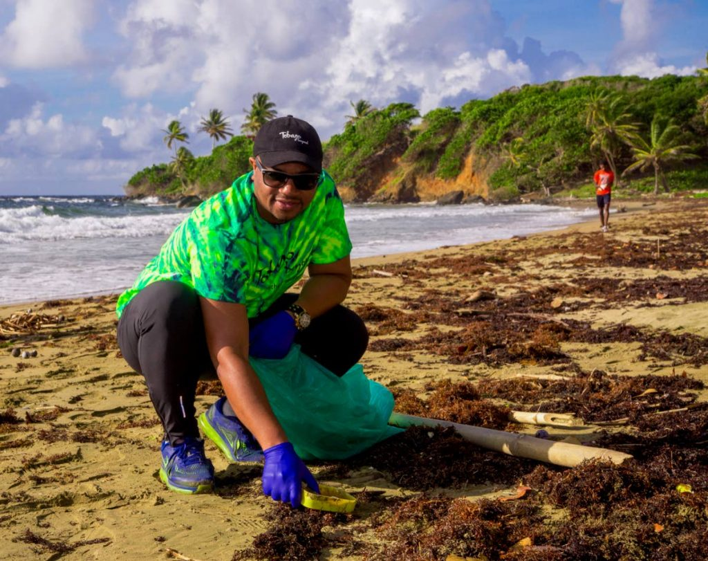Kwesi Des Vignes, Secretary of Infrastructure, Quarries and the Environment, participated in the International Coastal Clean-up at Minister's Bay, Bacolet, last month.