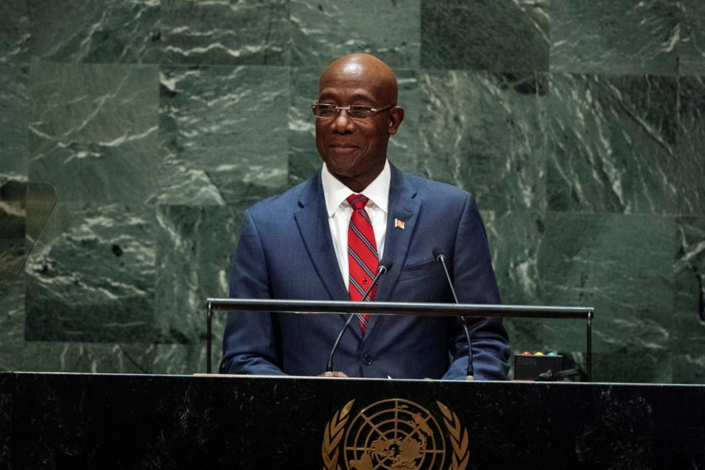 Prime Minister Dr Keith Rowley addresses the 74th session of the United Nations General Assembly on September 27, 2019.