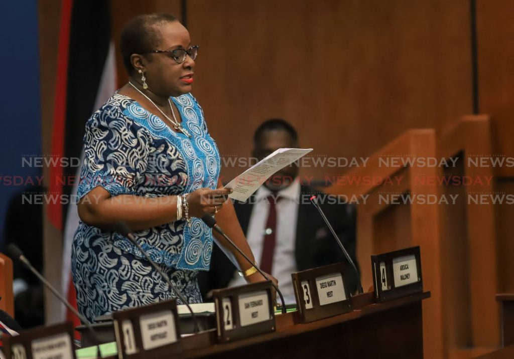 Planning and Development Minister Camille Robinson-Regis, also leader of government business, addresses the Lower House on Monday. PHOTOS BY JEFF K MAYERS