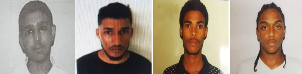 FROM LEFT: Shakeel Seepersad, Anthony Ramsumair, Darren Scott and Dillano Marcano who escaped from the YTC in Golden Grove Prisons, Arouca. Another inmate, Jaden Fletcher, also escaped.