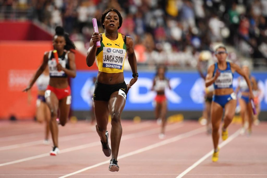 Jamaica's Shericka Jackson leads on her way to winning the Women's 4x100m Relay final at the 2019 IAAF Athletics World Championships at the Khalifa International stadium in Doha,today.