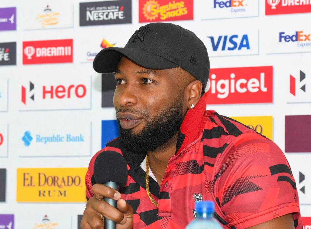 Trinbago Knight Riders' skipper Kieron Pollard speaks yesterday during a press conference ahead of today's Hero CPL T20 playoff match against the St Kitts and Nevis Patriots, at Guyana National Stadium, Providence,Guyana.