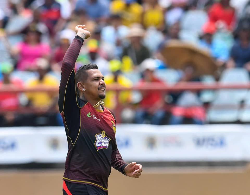 TKR off-spinner Sunil Narine reacts after getting a wicket against St Kitts/Nevis Patriots yesterday. PHOTO COURTESY CPL T20.