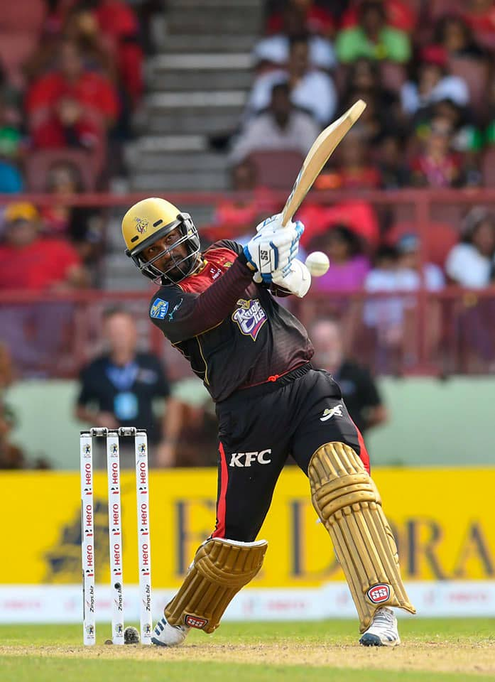 Denesh Ramdin hits a shot during his unbeaten knock of 32 yesterday. PHOTO COURTESY CPL T20.