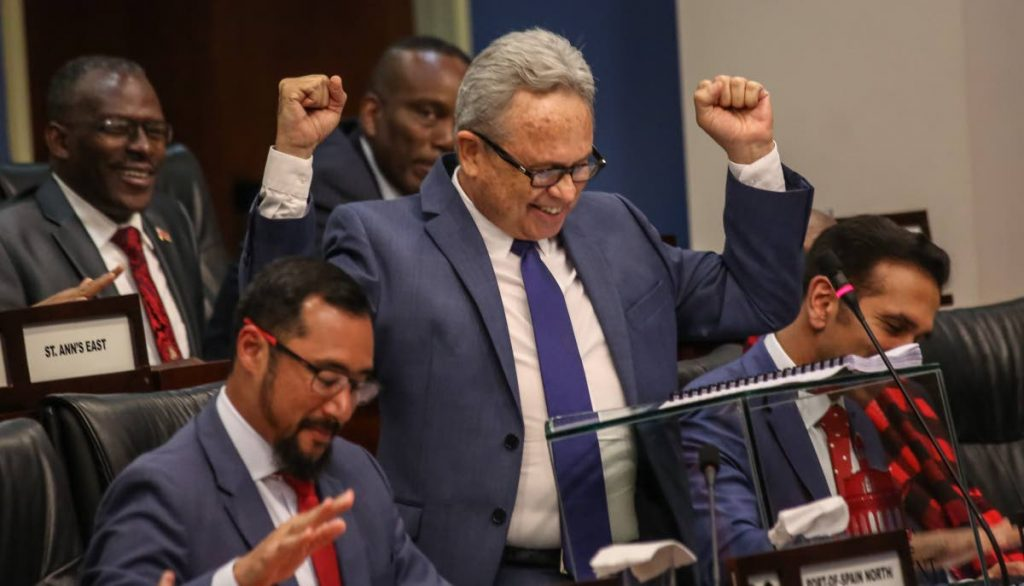 FREE UP: Finance Minister Colm Imbert reacts at the end of his three-hour-long budget presentation in the House of Representatives yesterday.  PHOTO BY SUREASH CHOLAI