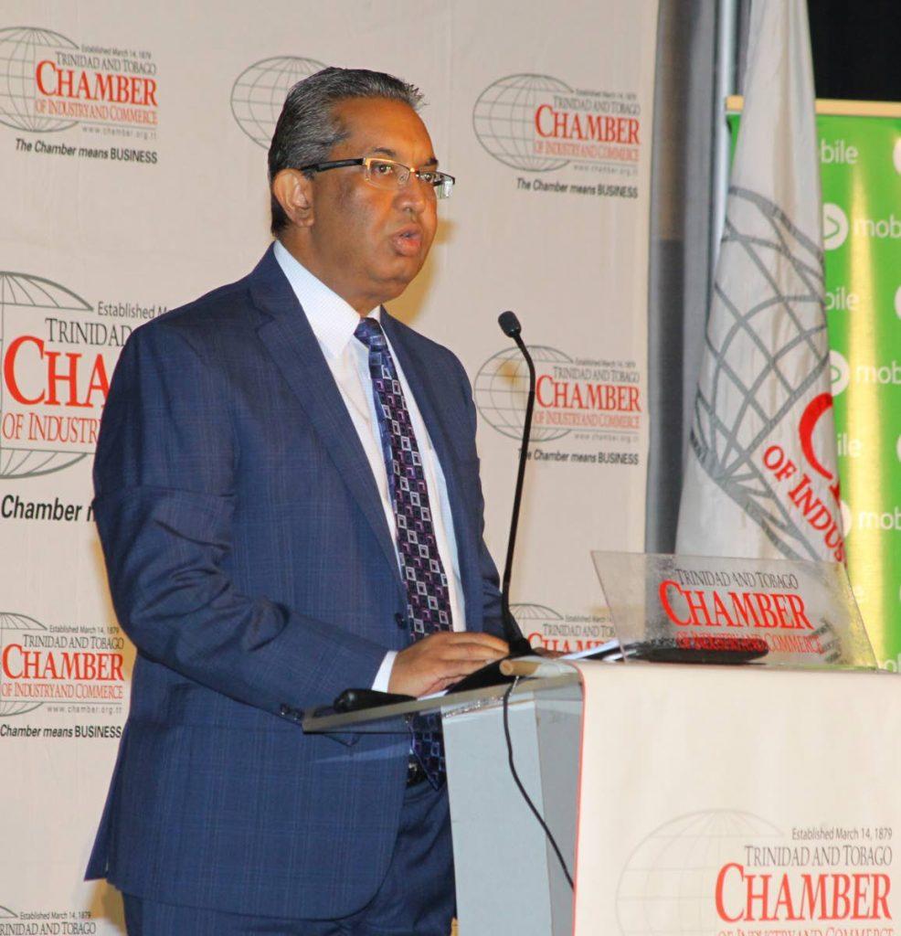 Reyaz Ahamad, president of the TT Chamber speaks at the chamber's annual post-budget analysis breakfast meeting at the Hyatt yesterday.
