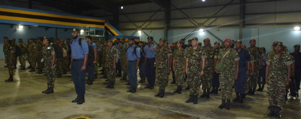 The one hundred (100) Trinidad and Tobago Defence Force (TTDF) personnel who were deployed to provide Humanitarian Aid and Disaster Relief to the Bahamas in the aftermath of Hurricane Dorian arrive at the Trinidad and Tobago Air Guard Headquarters in Piarco upon their return home