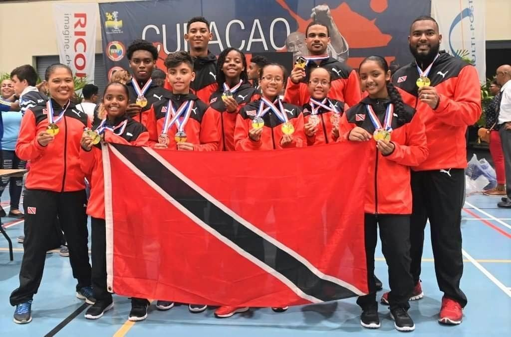 Members of the national karate team who represented TT at the 2019 Curacao Open Karate Championships.
