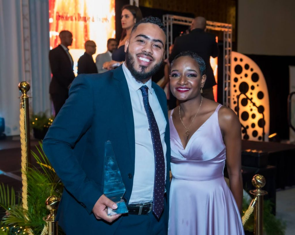 Anthony and June Henry, directors of A&J Homemade Ice Cream Co copped the Manufacturer of the Year Award 2018 (Small category) at the TTMA President's Dinner and Excellence in Manufacturing Awards Ceremony, Hyatt Regency Trinidad on Tuesday October 8 2019. PHOTO BY ELLIOT FRANCOIS - Elliot Francois