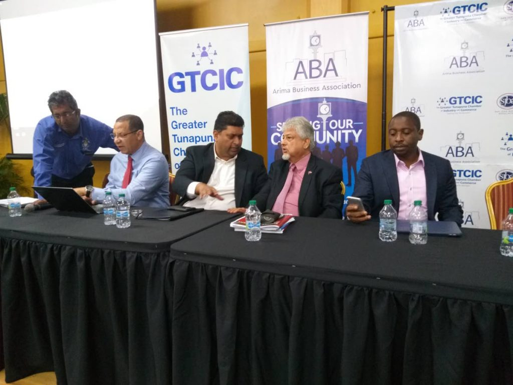 (L-R) Senior lecturer of economics at UWI Dr Roger Hosein, former finance minister Mariano Browne, former energy minister Kevin Ramnarine, Caroni Central MP Dr Bhoendradatt Tewarie and CEO of JMMB Express Finances Elson James, at a post-bugdet analysis hosted by the Greater Tunapuna Chamber, the Arima Business Association and the Supermakets Association.     PHOTO BY  TYRELL GITTENS