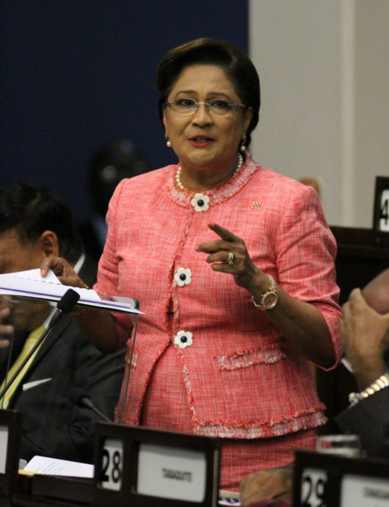 Opposition Leader Kamla Persad-Bissessar speaks during her budget response on Friday in Parliament.  - ANGELO MARCELLE