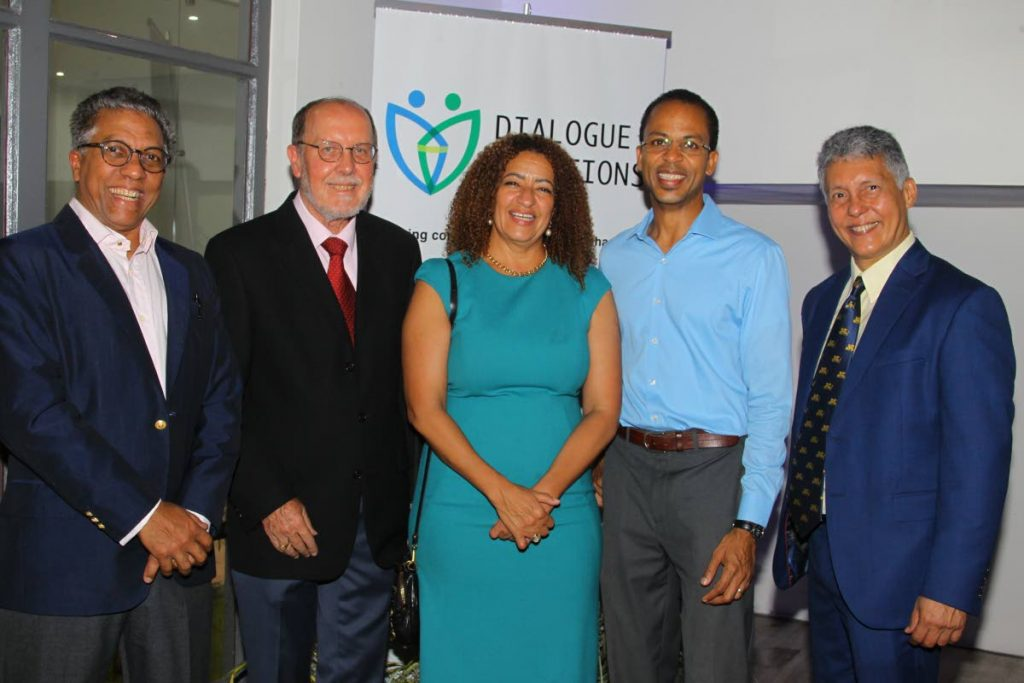 Director emerita/founder Elizabeth Solomon, alongside, from left, Dialogue Solutions Ltd chairman Reginald Amour SC, directors Dennis Gurley SC, Leslie Clarke and Independent Senator Anthony Vieira at the company's launch in St Clair on October 11.   - ROGER JACOB