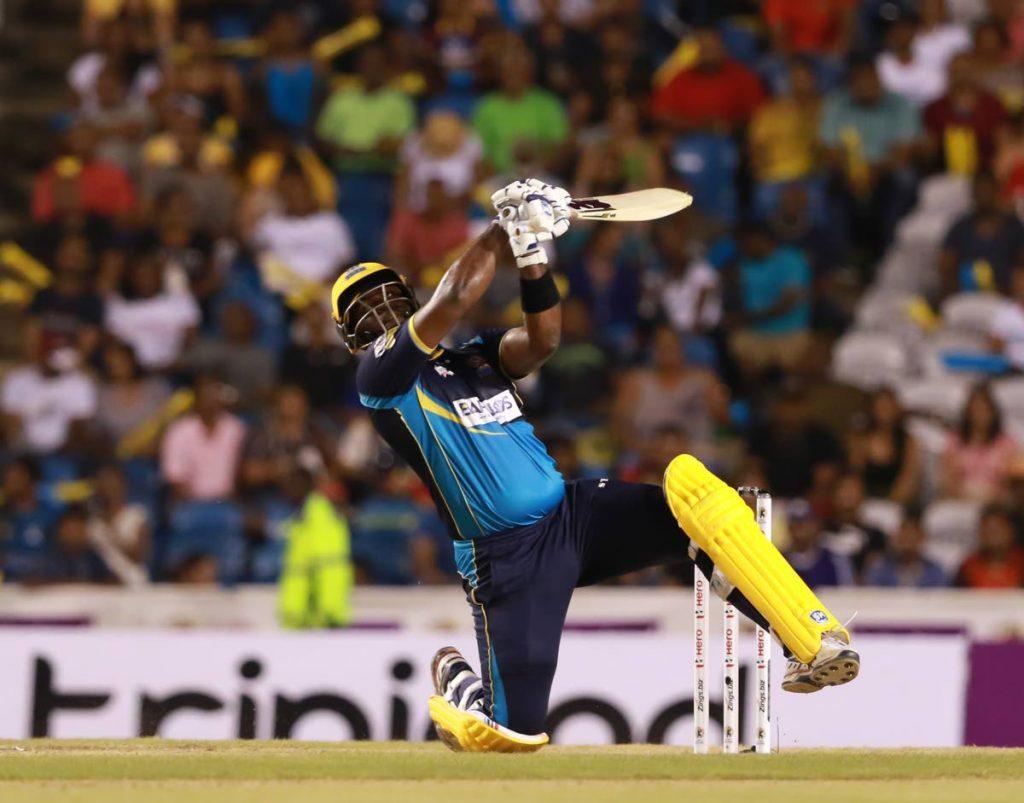 Ashley Nurse of the Barbados Tridents hits a shot  during the 2019 Hero CPL final against the Guyana Amazon Warriors at the Brian Lara Cricket Academy,Tarouba.