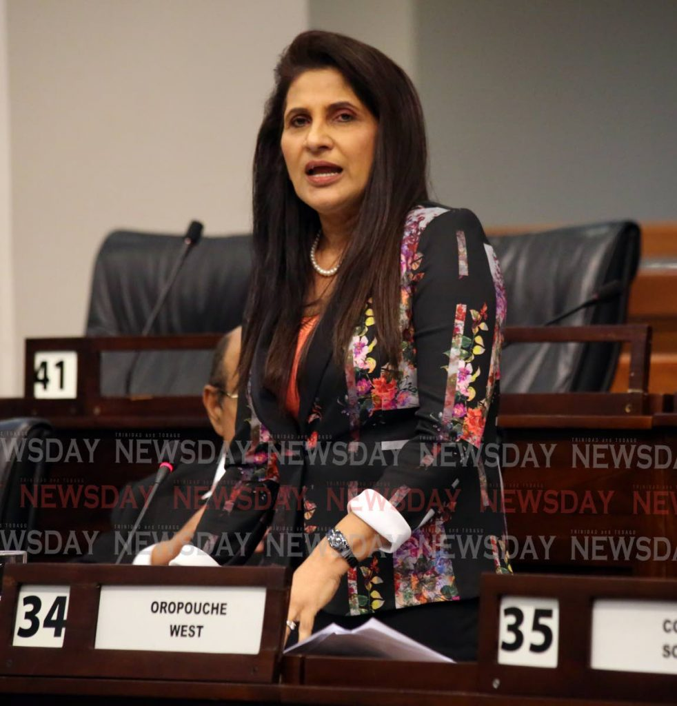 Oropouche West MP Vidia Gayadeen-Gopeesingh speaks during debate on the budget on Monday.  PHOTO BY SUREASH CHOLAI - SUREASH CHOLAI