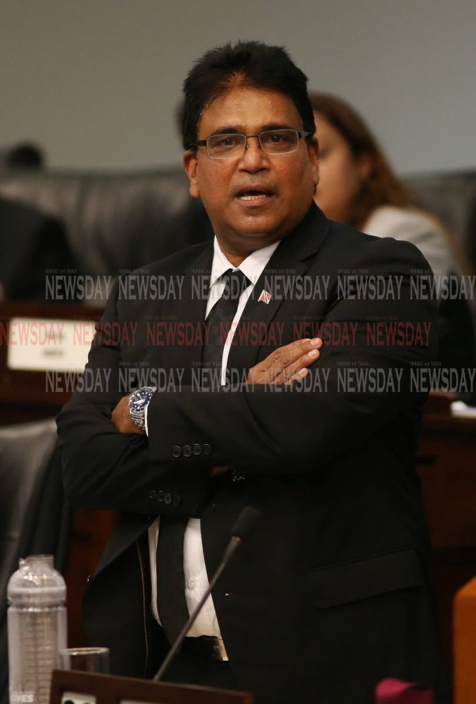 Oropouche East MP Dr. Roodal Moonilal, at the buget debate at Parliament on Tuesday. Photo by Angelo Marcelle - Angelo Marcelle