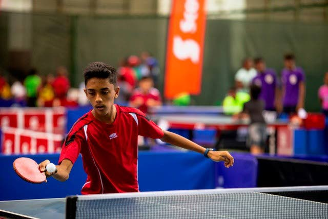 Table tennis player Joshua Dass, of Presentation College Chaguanas  competes in last year's tournament. -