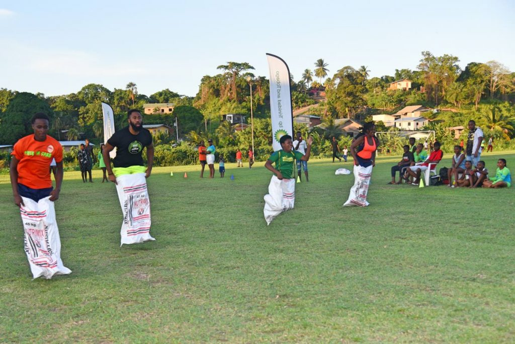 The popular sack race was a hit at the sports and family day. -