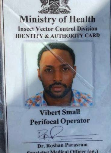 TO SUE: Vibert Small, a perifocal opertor (one who sprays for mosquitoes). -