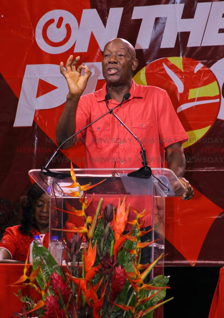 Prime Minister Dr Keith Rowley addresses supporters during a PNM post-budget meeting at Piggott Corner, Belmont on Friday night. Photo by Roger Jacob