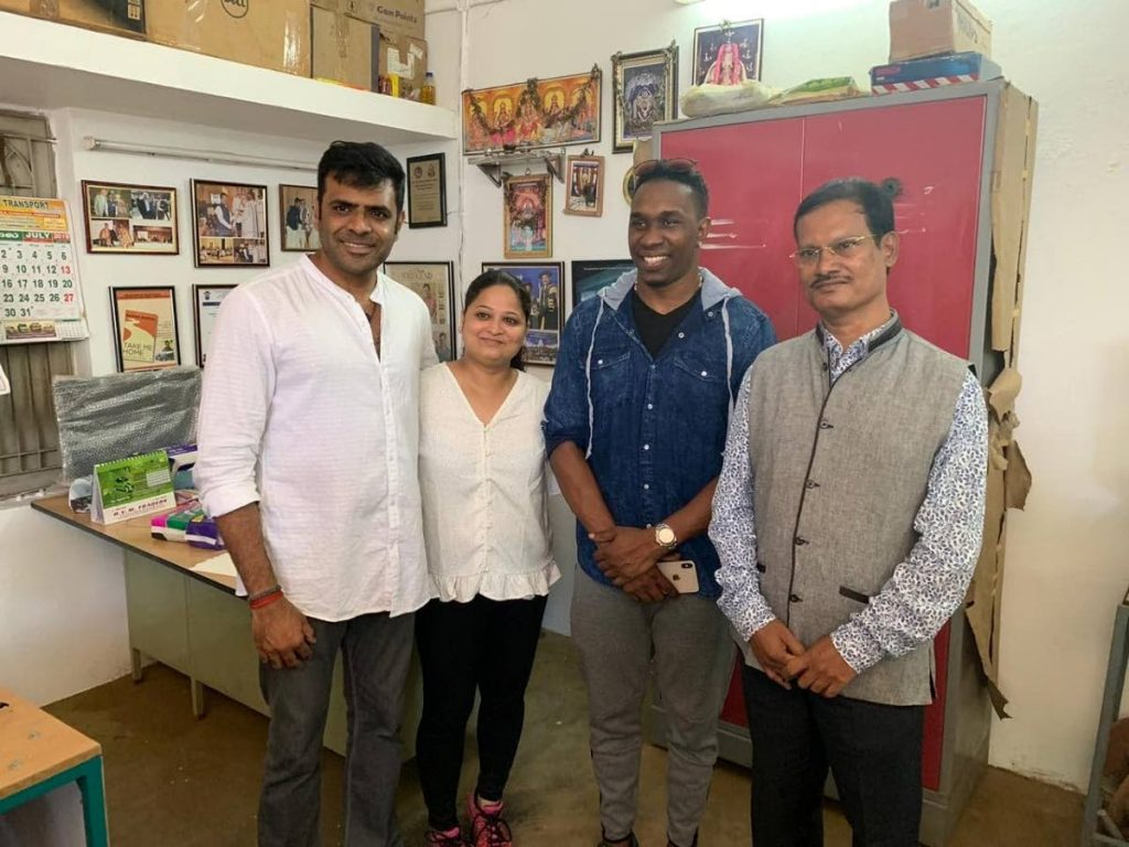 Men Take Lead documentray executive producer Natraj Pillai, left, director Aarthi Shrivastava, Dwayne Bravo and Arunachalam Muruganantham (Padman).  -