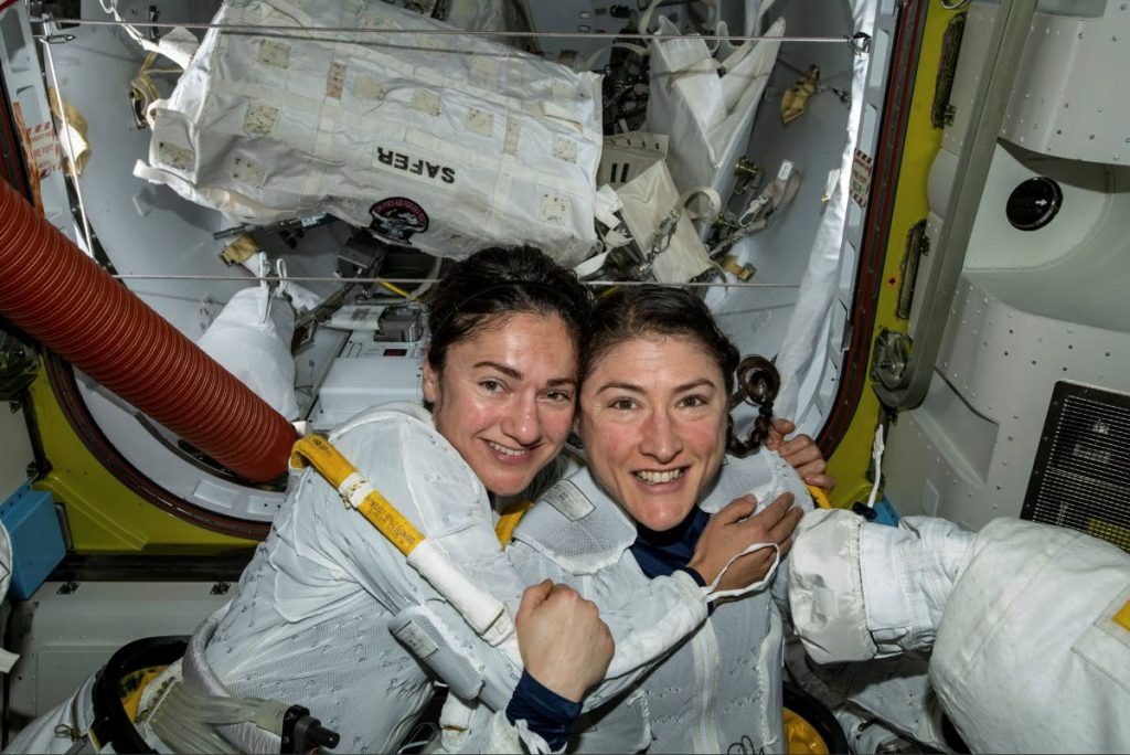 In this photo released by NASA on Friday, Oct. 18, 2019, U.S. astronauts Jessica Meir, left, and Christina Koch pose for a photo in the International Space Station. The astronauts took part in the first all-female spacewalk. - AP PHOTO
