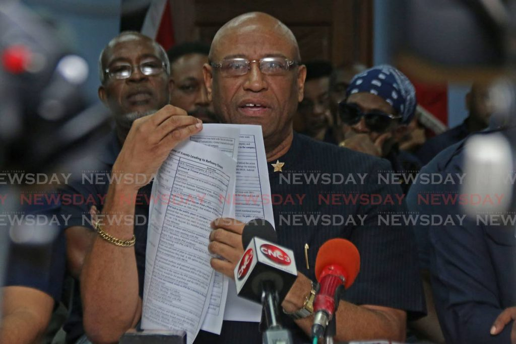 President General, Ancel Roget speaks during media conference at OWTU, Paramount Building, San Fernando.   PHOTO BY: MARVIN HAMILTON - Marvin Hamilton