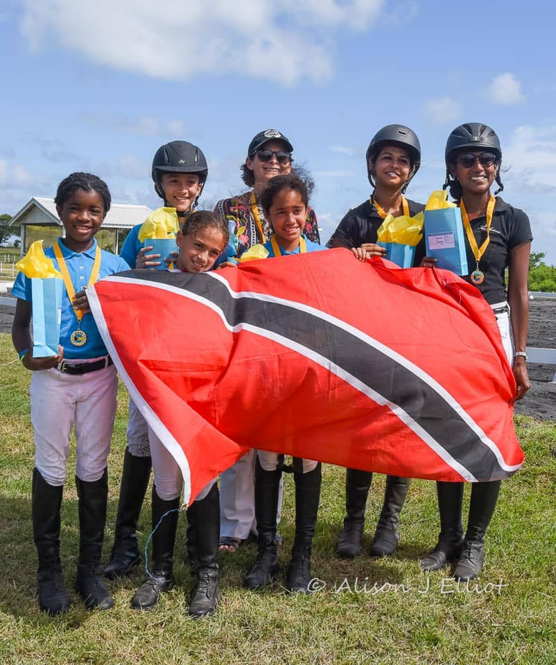 Members of the TT equestrian team which competed on October 13, at the Beads of Hope initiative held in Barbados. Profits from the event went to the Caribbean Disaster and Emergency Management Authority in order to help with relief efforts in the Bahamas after the passing of Hurricane Dorian. - Photo courtesy the TT Equestrian Association