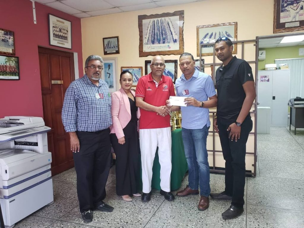 THE TTCB's sponsorship and marketing committee meets with president Azim Bassarath, third from left. (From left to right):  Amral Mohammed, Reann Ramcharan,  Rajendra Mangalie (Chairman), and  Sudesh Jaggerssar (vice-chairman). - Photo courtesy TT Cricket Board