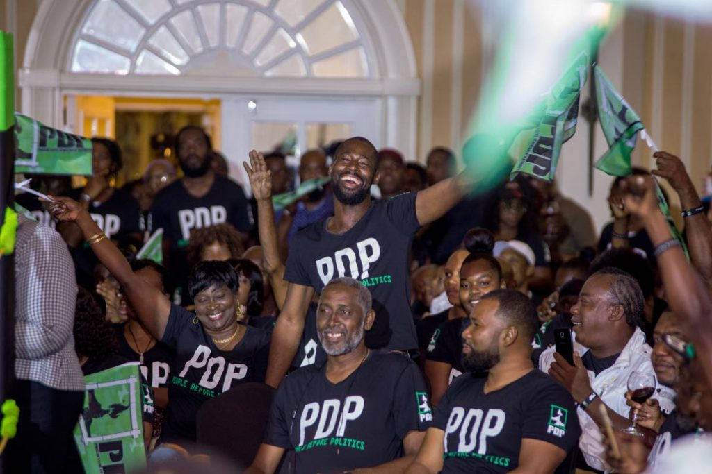 Progressive Democratic Patriots supporters cheer on their leaders at the party's election campaign launch at the Magdalena Grand Beach and Golf Resort on Sunday.  - DAVID REID