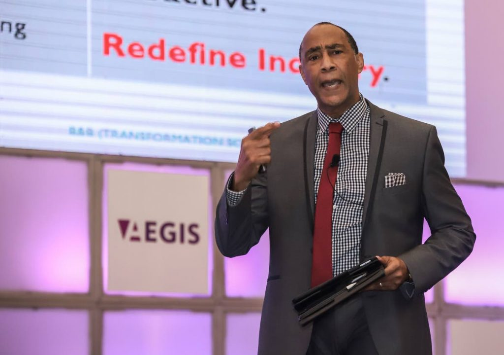 Gerry Brooks, chairman of the Dispute Resolution Foundation, addresses the audience at the Caribbean Corporate Governance Conference 2019 at Hyatt Recency, Port of Spain yesterday. - JEFF K MAYERS