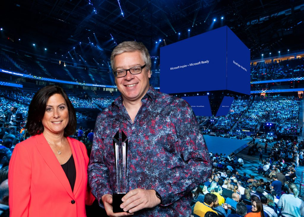 Derrick Villeneuve and Gavriella Schuster, Microsoft Corporate Vice President One Commercial Partner Channel Chief.