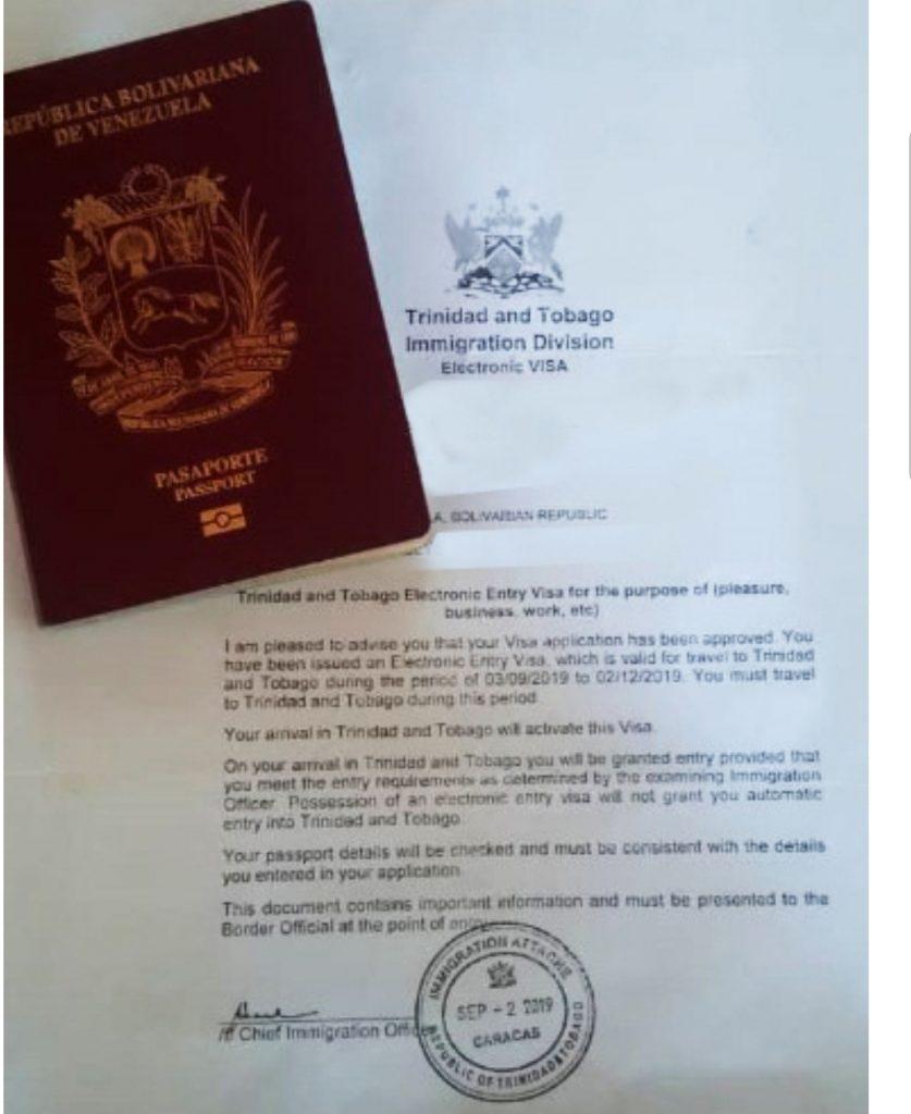 Un formulario oficial de solicitud de visa de la embajada de Trinidad en Caracas.