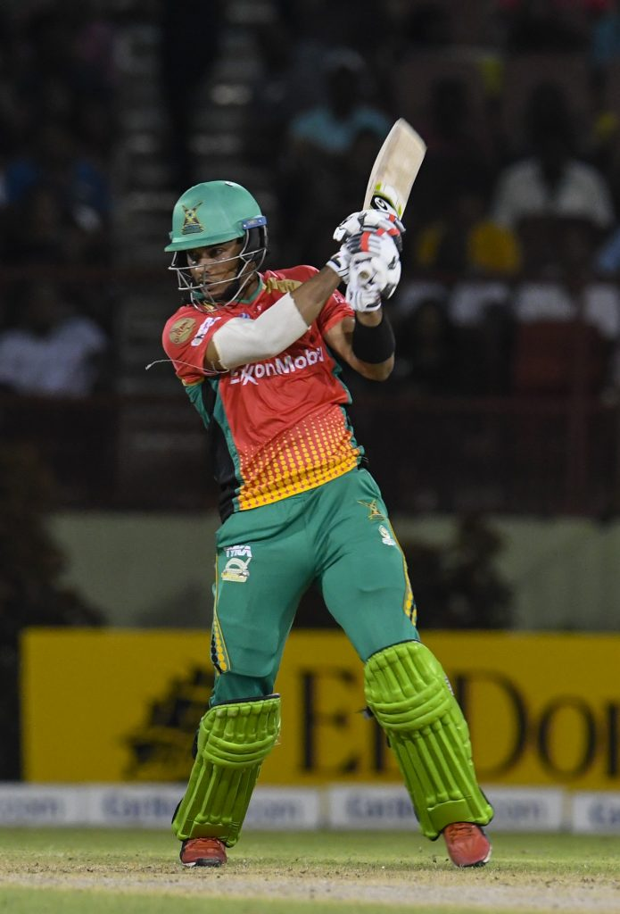 PROVIDENCE, GUYANA - OCTOBER 04: In this handout image provided by CPL T20, Brandon King of Guyana Amazon Warriors hits 4 during match 30 of the Hero Caribbean Premier League between Guyana Amazon Warriors and Trinbago Knight Riders at Guyana National Stadium on October 4, 2019 in Providence, Guyana. (Photo by Randy Brooks - CPL T20/Getty Images)