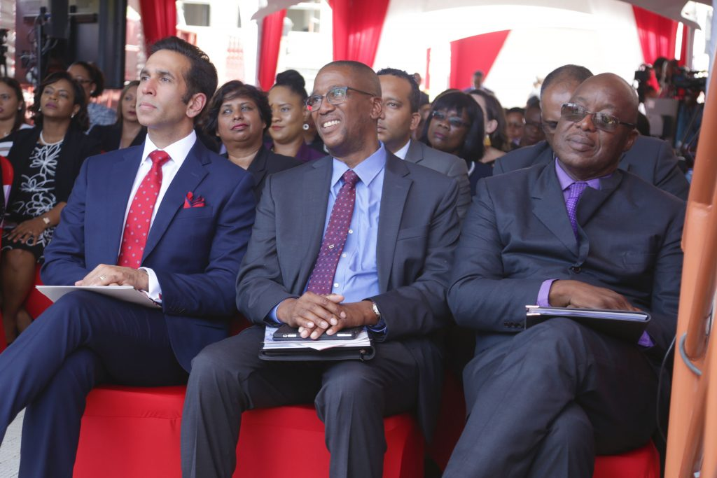 Attorney General Faris Al-Rawi, Chief Justice Ivor Archie and THA Chief Secretary Kelvin Charles at the opening of the Family Court in Tobago yesterday.  PHOTO COURTESY THE THA
