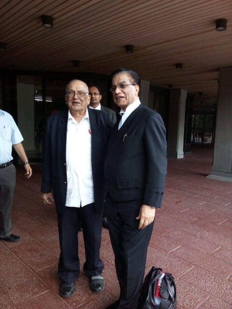 Sanatan Dharma Maha Sabha (SDMS) Satnarayan Maharaj  leader Satnarayan Maharaj and his lead counsel Ramesh Lawrence Maharaj, SC, at the Hall of Justice, Port of Spain on June 18.  - Jada Loutoo
