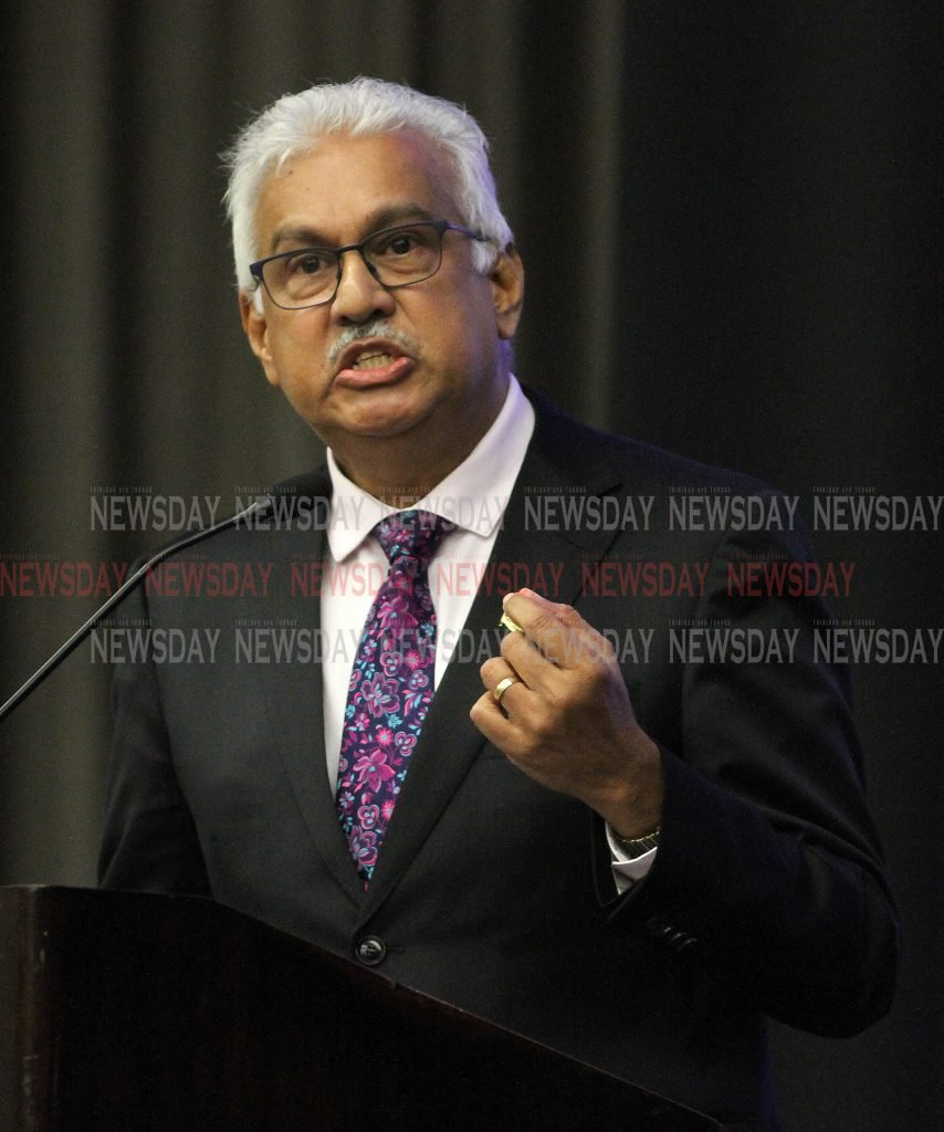 Minister of  Health Terrence Deyalsingh, delivers a special address on Moday evening, at the Caribbean Congress on Adolescent and Youth Health opening Cceremony, Hyatt Regency.   PHOTO:ANGELO M. MARCELLE