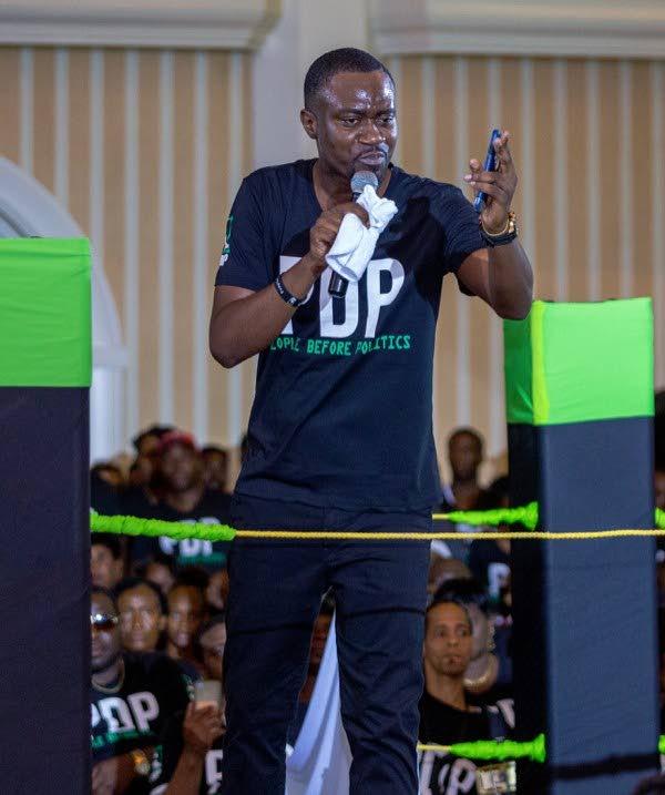 Minority Assemblyman Farley Augustine at the Progressive Democratic Patriots election campaign launch on October 27. - DAVID REID