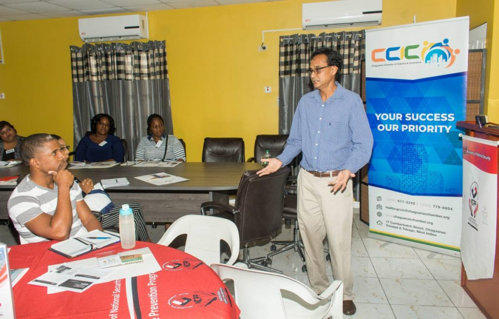 Sajjad Hamid, a representative of COSTAATT The College of Science, Technology and Applied Arts of Trinidad and Tobago) speaks to participants during the National Crime Prevention Programme Fundamental Tools For Entrepreneurs Workship at the Chaguanas Chamber of Industry and Commerce on Saturday November 2, 2019. - CHEQUANA WHEELER