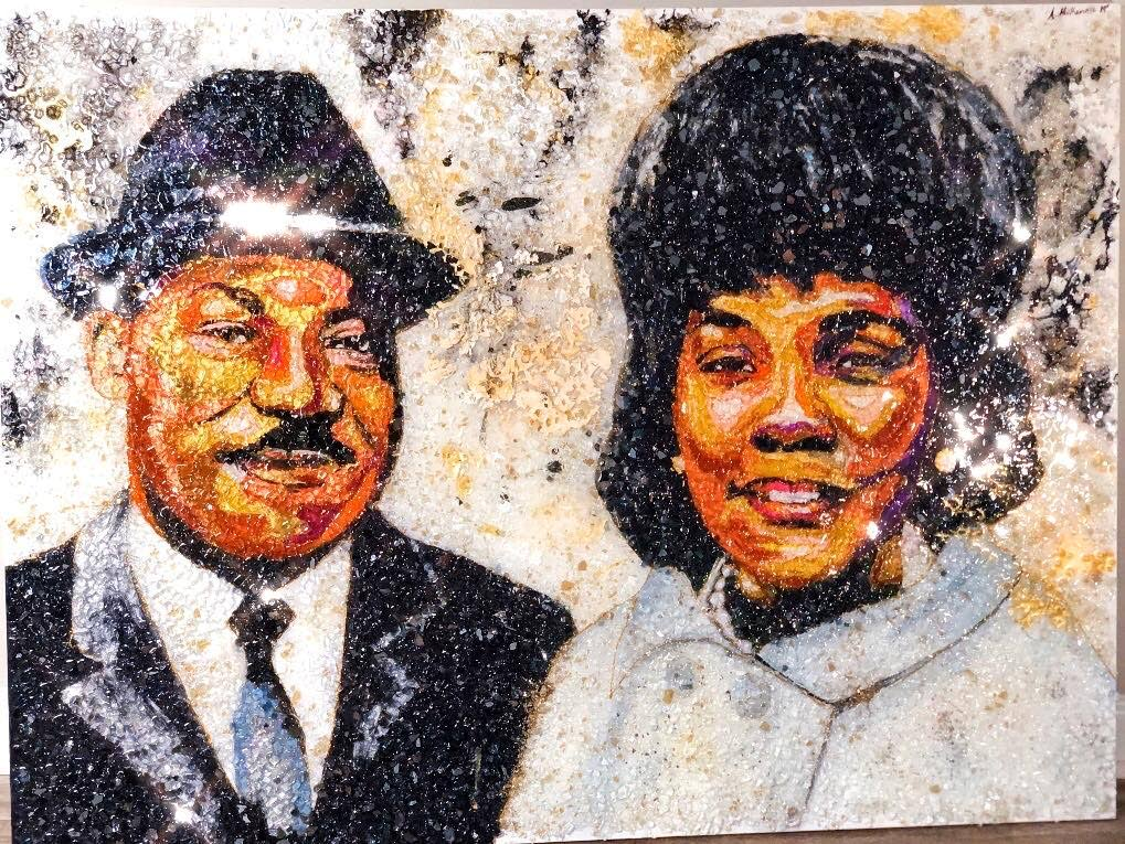 The piece The Kings, a portrait of civil rights leader Martin Luther King Jr and his wife Coretta Scott King by Andrea McKenzie.  -