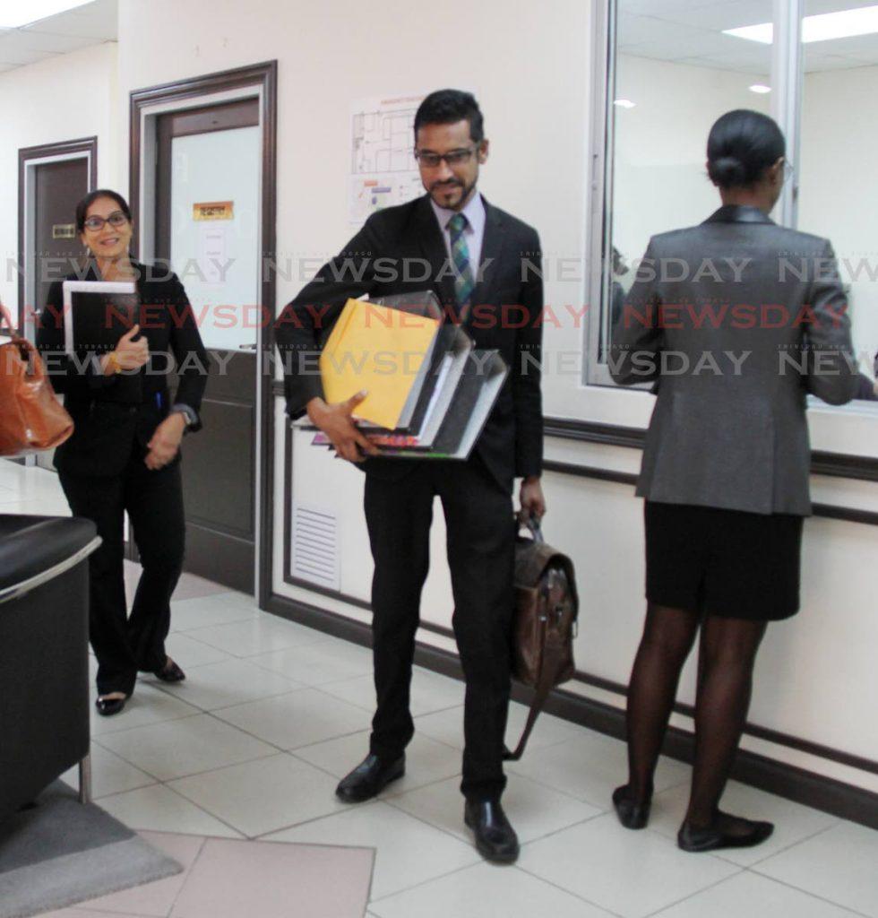 Attorney at Law Shankar Bidaisee leaving the Equal Opportunity Tribunal Court this morning. Photo by Vashti Singh - Vashti Singh